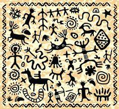 Illustration of vector ancient cave petroglyphs pattern vector art, clipart and stock vectors. Native Symbols, Native American Symbols, Ancient Symbols, Native Art, Ancient Art, Arte Tribal, Tribal Art, Art Indien, Stencil