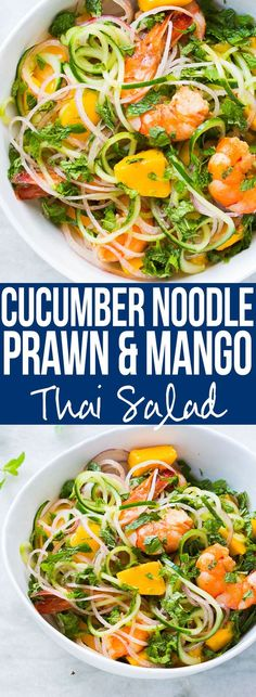 Super fresh cucumber noodle prawn and mango salad which is also gluten free. All the thai flavours of Bangkok in this hearty spiralizer salad recipe. I'm totally making this salad this summer! Just replace prawns with tofu or another vegetable to make it