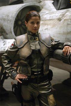 "Louanne Katraine (callsign ""Kat"") from the remade version of Battlestar Galactica."