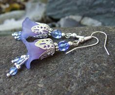Lucite Lily Flower Earrings  Lavender Fairy by whiteravendesignsau, $22.50