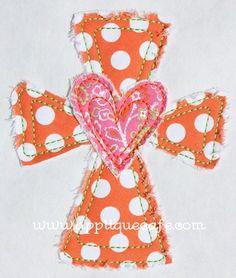 Heart Cross Applique Design--tip on raggy applique