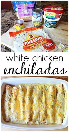 White chicken enchiladas with a sour cream chile sauce - SOOO good!! Easy dinner…