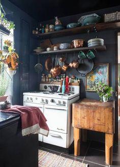 a tiny, rustic kitchen.