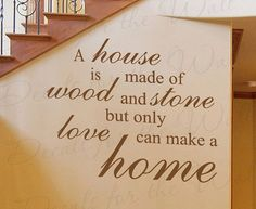 A House Made Wood and Stone Home Family Love Wall Decal Adhesive Vinyl Quote Saying Lettering Decoration Sticker Decor Art F42