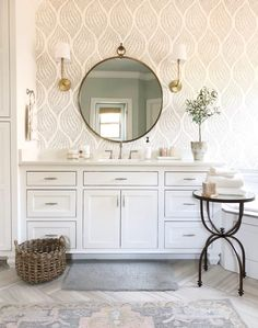 This leaf print wallpaper is the perfect combination of land and sea. The ferns flow like underwater botanicals while the honey and grey color palette is reminiscent of a sandy beach. Wallpaper Accent Wall Bathroom, Bathroom Accents, Bathroom Wallpaper Vintage, Small Bathroom, Bathroom Ideas, Bathroom Updates, Bath Ideas, Bathroom Inspiration, Modern Bathroom