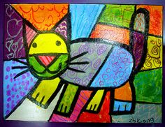 Colour and Lines. Splat Le Chat, Third Grade Art, Creation Art, Art Worksheets, Kindergarten Art, Art Lessons Elementary, Arte Pop, Art Classroom, Art Club