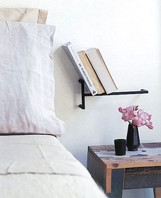 bed side bookcase. via bluepoolroad