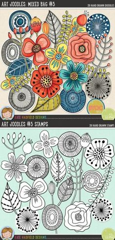 Crafts Design Art Joodles: Mixed Bag Mixed media digital scrapbooking elements / ideal for art journaling! Hand-drawn illustrations for digital scrapbooking, crafting and teaching resources from Kate Hadfield Designs! Doodle Patterns, Zentangle Patterns, Embroidery Patterns, Art Patterns, Zentangles, Doodle Drawings, Doodle Art, Sketchbook Drawings, Flower Doodles