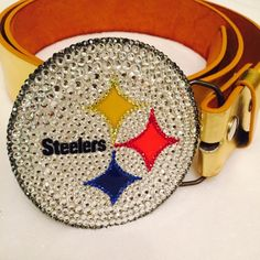 "Pittsburgh Steelers Swarovski Crystal belt buckle Officially licensed NFL Steelers belt buckle hand embellished by me with top quality stones.. Each of my pieces are done with great attention to detail. The SPARKLE is amazing but hard to show in photos. For other teams, more photos or questions, please email me    tonjab1213@ gmail.com Custom orders available! Etsy shop ""LolasHeart13"" NFL Accessories Belts"