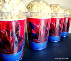 Spiderman Birthday Party Popcorn Boxes by PoshBoxCouture2 on Etsy, $12.00