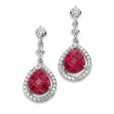 18K White Gold Diamond Ruby Earrings from Goldsmith Jewelers.