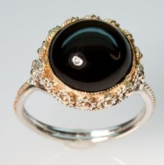 Onyx Dome Ring in 14K Yellow Gold by FernandoJewelry on Etsy