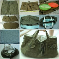"""Do you have any old pair of shorts just lying around the house? It may be hard to figure out what to do with these old clothes, but they don't need to be thrown away. Making them into a tote bag is a fun, simple and useful craft. Any amateur seamstress with basic sewing supplies can make her own shorts purse in practically no time at all.  Here is a video for How to make a 'denim shorts' tote bag, you can try it with your old shorts. Click here for Instructions from """"Bethsco"""""""