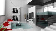 schwarz-weiß Treppengeländer aus dickem Glas
