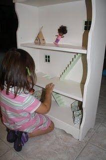 Old bookshelf --> new dollhouse