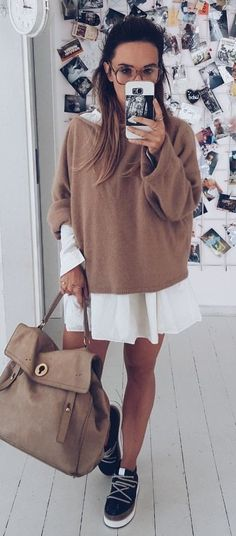 #fall #outfits women's white and brown long-sleeved dress