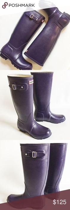"""Hunter Tall Matte Rain Boots Hunter Tall Matte Rain Boots in urchin, a deep eggplant purple.  Classic slip on style with adjustable side buckle.  Pre-loved but in excellent condition.  Minor scuffs, see pics.  Original box not included.  Heel: 1"""" Leg height: 15.5"""" Leg opening: 16"""" Hunter Boots Shoes Winter & Rain Boots"""