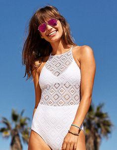 55deb46e5e89 aerie Crochet One Piece Swimsuit White Swimsuit