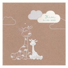 Lief geboortekaartje met girafje en broertje of zusje