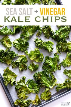 Vegan Sea Salt and Vinegar Kale Chips -- a tasty, easy, and healthy alternative to the potato chip version!