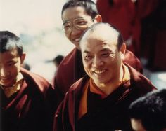 This photo was taken in 1978 at Rumtek Monastery. HH the Karmapa is photographed with Traleg Rinpoche (middle) and Drubpon Rinpoche (left), who is the general secretary to the present Karmapa. He is also the son of the previous general secretary to the 16th Karmapa, whose name was Damchoe Yongdu (the father to Drubpon Rinpoche).