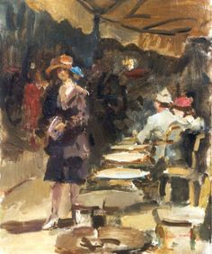 Israels I.L.  | Outdoor café, oil on canvas 46.0 x 38.2 cm., signed l.r.