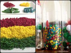 Activités d'éveil: bouteille sensorielle et riz coloré. #Sensory #bottles and colored rise
