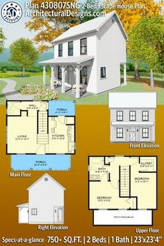 House Plan With Loft, Small House Floor Plans, Dream House Plans, Tiny Cottage Floor Plans, Small House Plans Under 1000 Sq Ft, Little House Plans, Cabin Plans With Loft, Two Bedroom Tiny House, Tiny House Cabin