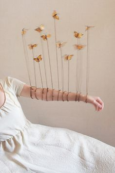 """""""Sometimes my muscles fail me but if I'm quiet and sincere. The butterflies that sleep inside my lampshade will appear""""  - Poems by Princess Alyssabeth. Image and text by Lissy Laricchia."""