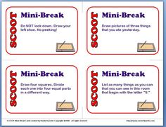 Classroom Freebies: SCOOT Mini-Break Cards