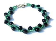 Green and Black Bracelet, Beadwoven Bracelet, Beaded Bracelet, Prom Accessory, Prom 2015, Seed Bead Bracelet, Bridesmaids Gift $22.00
