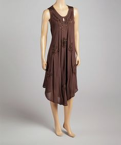 Brown & Gold Embroidered Embellished Sleeveless Dress