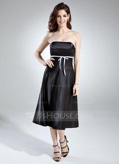 Bridesmaid Dresses - $82.99 - Empire Strapless Tea-Length Charmeuse Bridesmaid Dress With Sash (007020745) http://jjshouse.com/Empire-Strapless-Tea-Length-Charmeuse-Bridesmaid-Dress-With-Sash-007020745-g20745