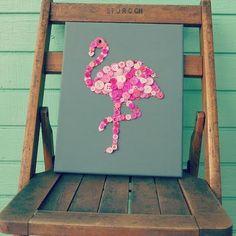Flamingo Button Art on canvas #FreightCenter