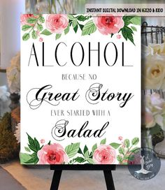 Alcohol Wedding Printable Sign  No Great Love by ABridalStory
