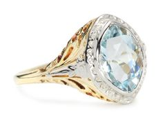 The Marquise: Pale Blue Aquamarine Ring, Shop Rubylane.com