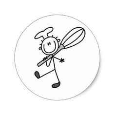 Stick Figure Chef with Whipper Classic Round Sticker