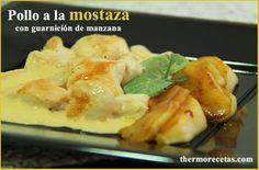 Pollo a la mostaza con guarnición de manzana - http://www.thermorecetas.com/2013/10/15/pollo-la-mostaza-con-guarnicion-de-manzana/