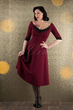 Vintage Chic Off shoulder Classy Wine Red Black Dress 102 20 16624 11052015 008W