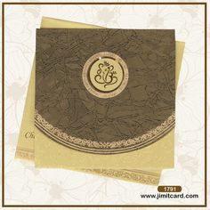 The center of the Wedding card has laser cut Ganesha symbol with seamless marble textured pattern in olive green around it. The two golden inserts are held by the floral holder and the envelope has the golden design placed at bottom. Marriage Invitation Card, Marriage Cards, Indian Wedding Invitations, Wedding Invitation Design, Royal Marriage, Golden Design, Ganesha, Textures Patterns, Wedding Cards
