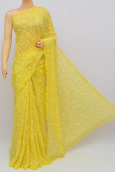 Yellow Color Tepchi Work Hand Embroidered Lucknowi Chikankari Saree (With Blouse - Georgette) Elegant Design Saree CLICK Visit link to read Indian Wedding Outfits, Pakistani Outfits, Indian Outfits, Designer Sarees Wedding, Saree Wedding, Dress Indian Style, Indian Dresses, Indian Beauty Saree, Indian Sarees