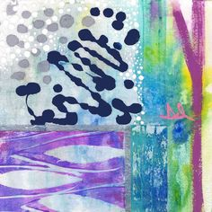 """""""Yes"""". Watercolor acrylic ink rice paper iridescent paper on canvas. 10"""" X 10""""."""