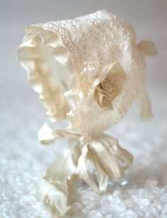 Newborn Silk and Lace Bonnet.  Baby Vintage Style Lace bonnet. Newborn Silk Bonnet. Newborn Photography Prop. UK SELLER. £24.99, via Etsy.
