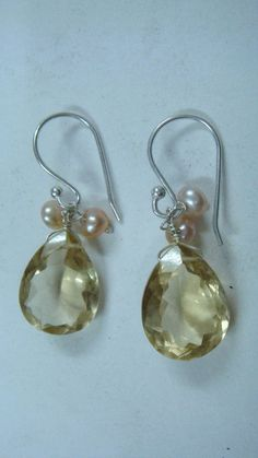 Earrring with Lemon quartz and Pearl by finegemsjewelery on Etsy, $10.00