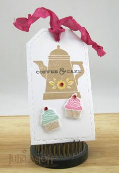 Create With Me: A coffee and cake tag made with stamps and dies from Waltzingmouse. Coffee Set, Coffee Cake, Gift Tags, Stamps, Place Card Holders, My Favorite Things, Create, Holiday Decor, Bookmarks
