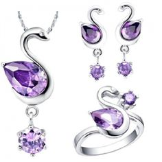 Purple Swan Plating 18K White Gold Necklace + Earrings + 8# Ring