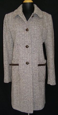 LARRY LEVINE Brown Herringbone Tweed Coat Wool Blend Color Flecks Winter Warm 8 #LarryLevine #BasicCoat