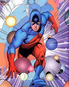 The Atom!The Atom is a name shared by several fictional comic book superheroes from the DC Comics universe.  The original Golden Age Atom, Al Pratt, was created by Ben Flinton and Bill O'Connor and first appeared in All-American Publications' All-American Comics