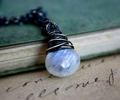 Moonstone Necklace Jewelry Gemstone Galaxy Celestial by PoleStar, $63.00