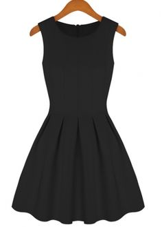 High Street Pleated Solid Black Tank Dress for Lady